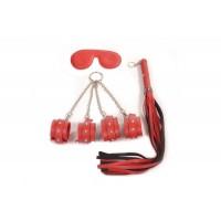 Pipedram Deri Çantalı Kelepçe Seti Kırmızı